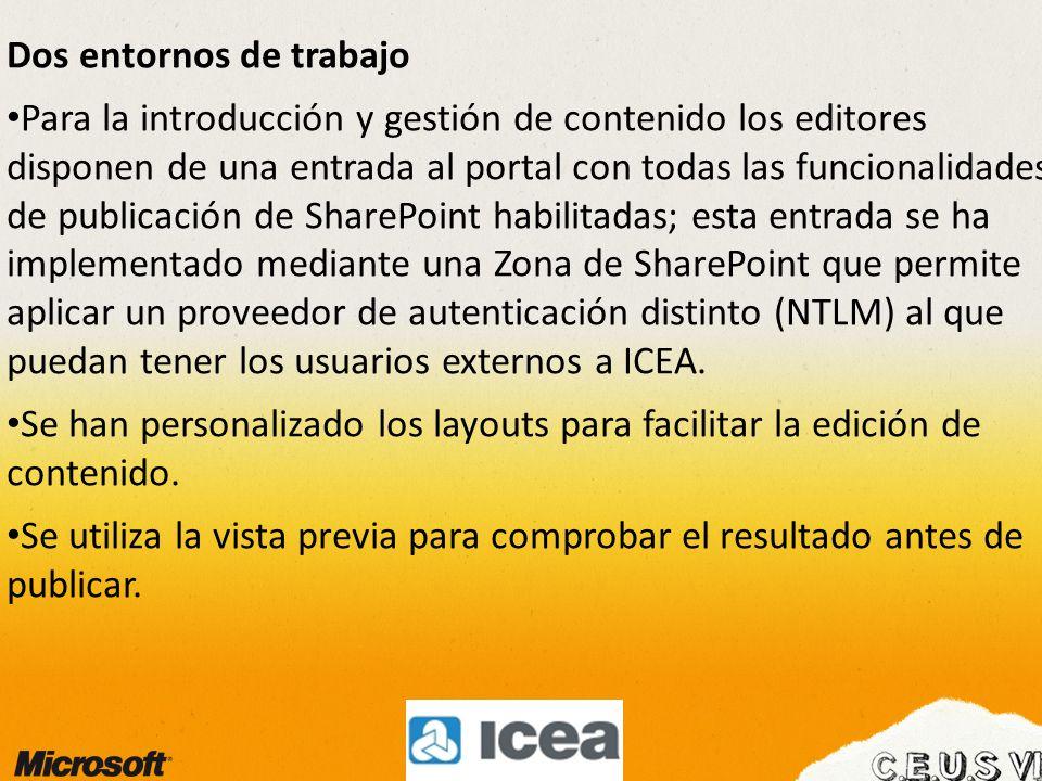 Dos entornos de trabajo Para la introducción y gestión de contenido los editores disponen de una entrada al portal con todas las funcionalidades de publicación de SharePoint habilitadas; esta entrada se ha implementado mediante una Zona de SharePoint que permite aplicar un proveedor de autenticación distinto (NTLM) al que puedan tener los usuarios externos a ICEA.