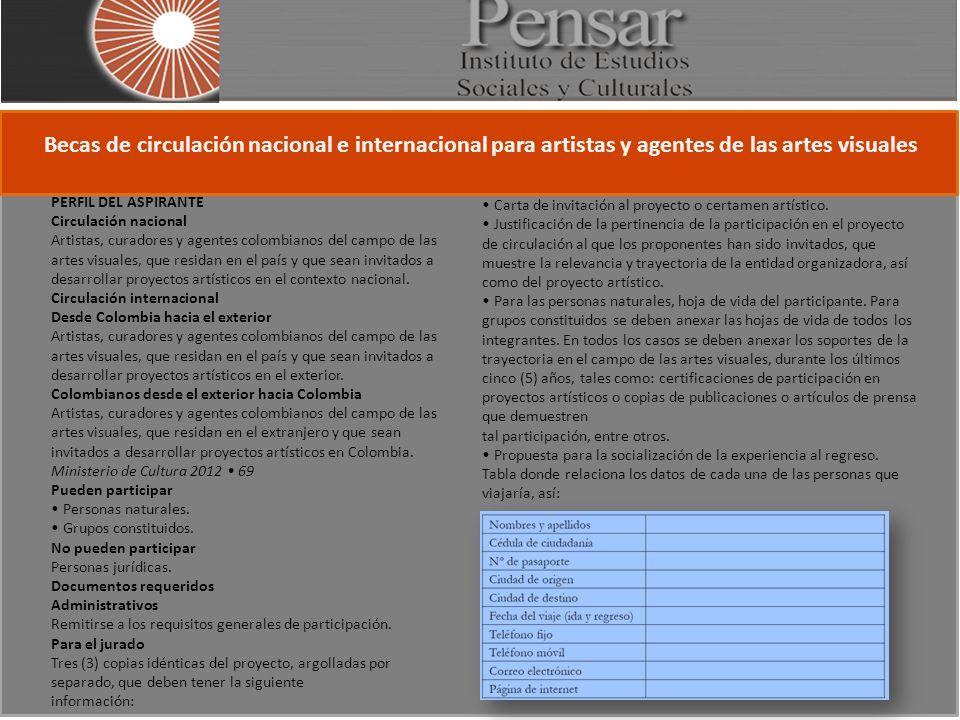 Becas de circulación nacional e internacional para artistas y agentes de las artes visuales PERFIL DEL ASPIRANTE Circulación nacional Artistas, curadores y agentes colombianos del campo de las artes visuales, que residan en el país y que sean invitados a desarrollar proyectos artísticos en el contexto nacional.
