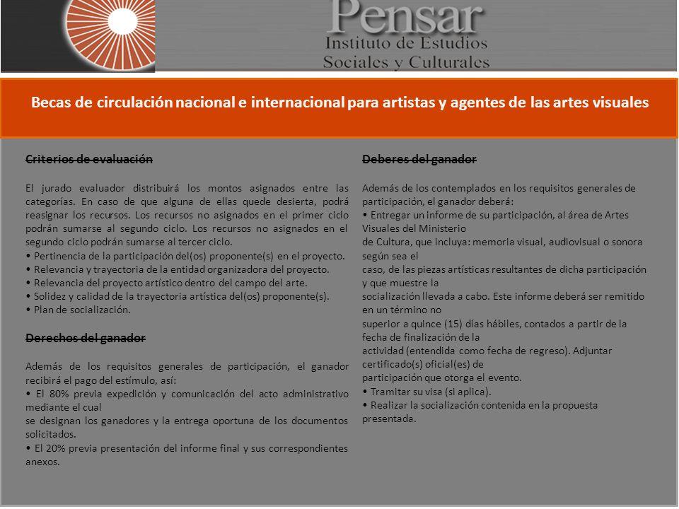 Becas de circulación nacional e internacional para artistas y agentes de las artes visuales Criterios de evaluación El jurado evaluador distribuirá los montos asignados entre las categorías.