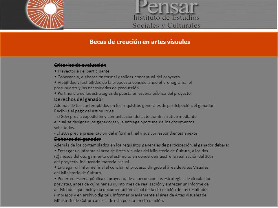 Becas de creación en artes visuales Criterios de evaluación Trayectoria del participante.