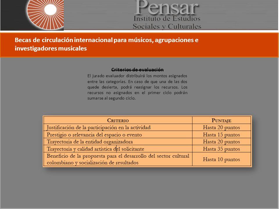 Becas de circulación internacional para músicos, agrupaciones e investigadores musicales Criterios de evaluación El jurado evaluador distribuirá los montos asignados entre las categorías.