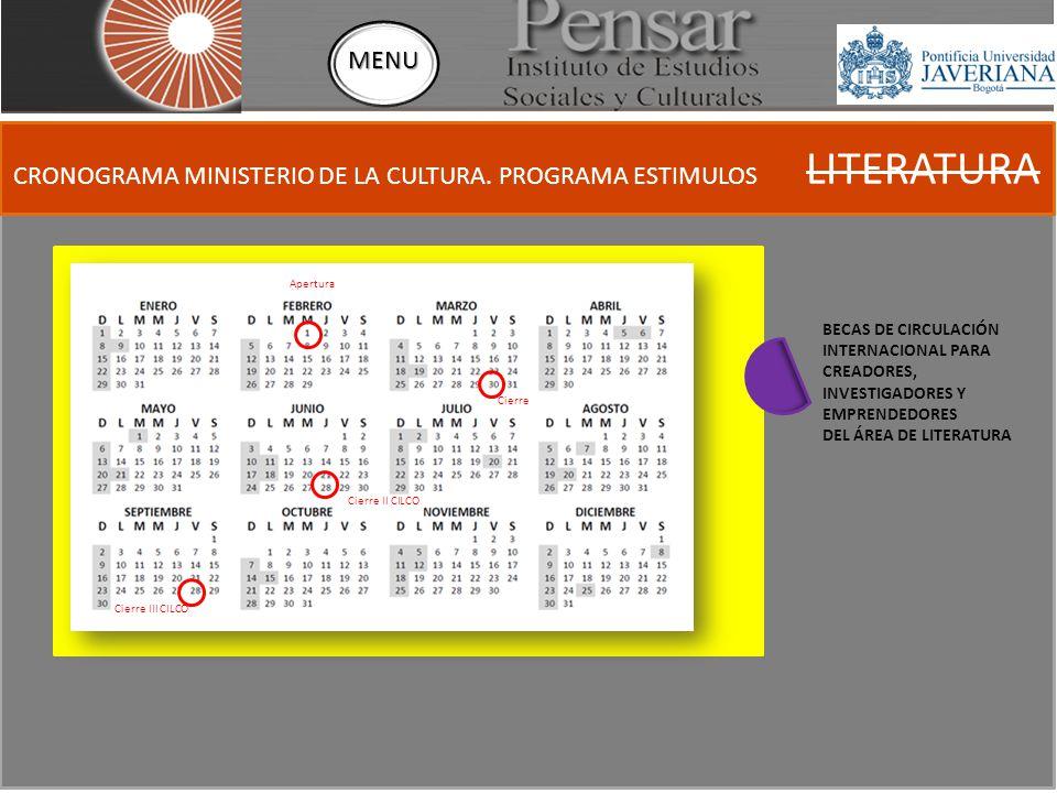 CRONOGRAMA MINISTERIO DE LA CULTURA.