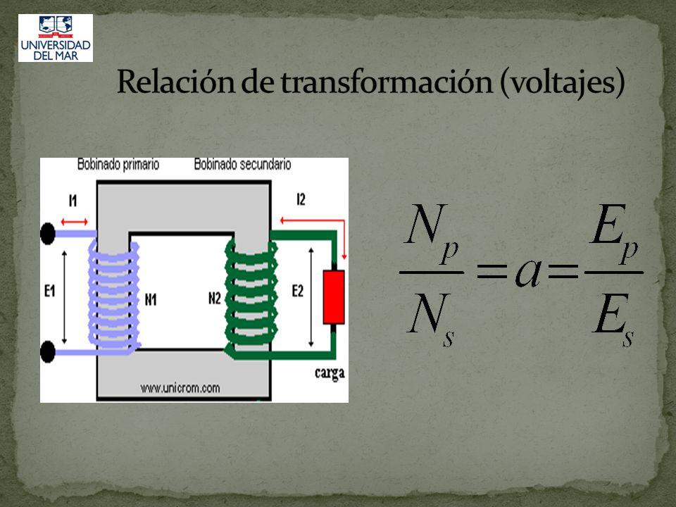La razón de transformación del voltaje entre el bobinado