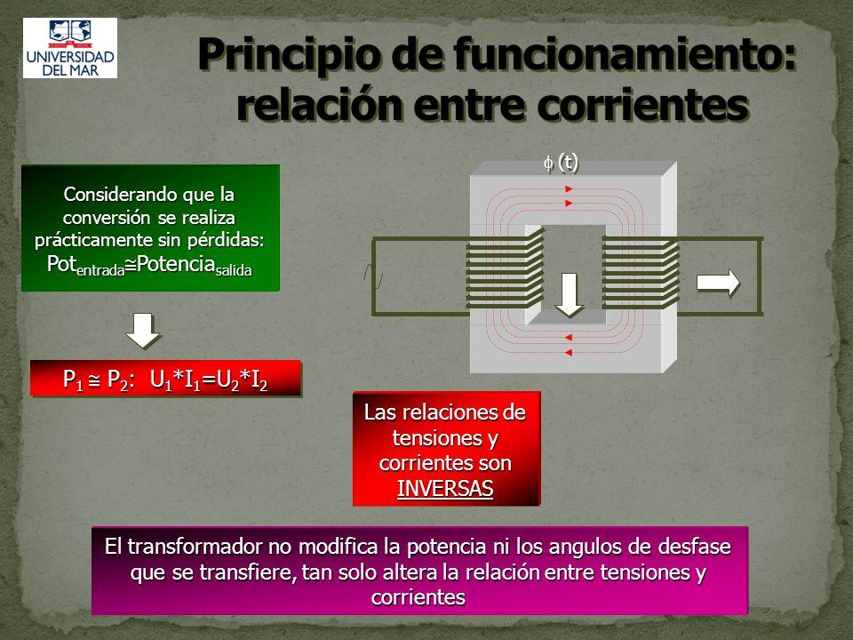 RELACIÓN DE CORRIENTE Cuando no existen perdidas en el núcleo del transformador, la potencia en el secundario es igual a la potencia en el primario.