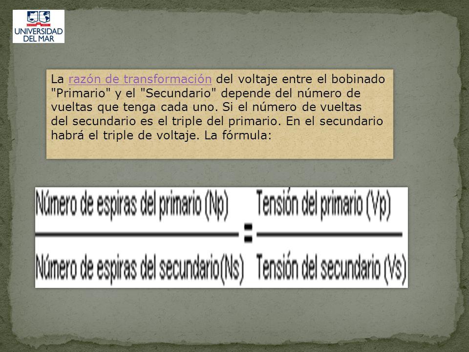 RELACIÓN DE VOLTAJE Con un acoplamiento unitario entre el primario y el secundario, el voltaje inducido en cada vuelta del secundario es igual al voltaje inducido en cada vuelta del primario.