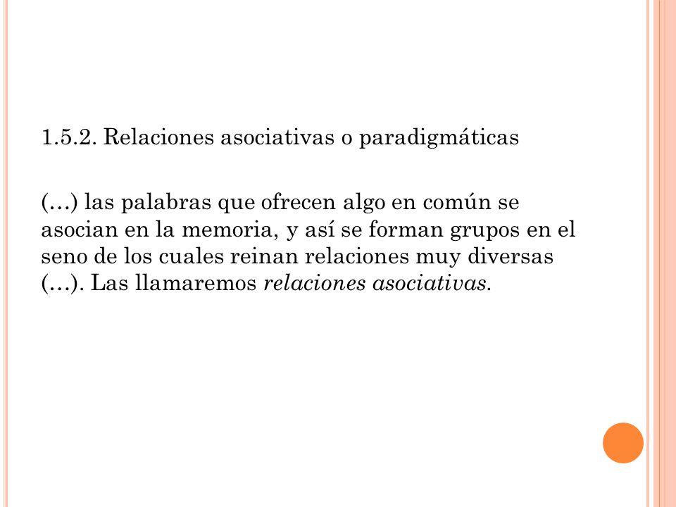 1.5.2. Relaciones asociativas o paradigmáticas (…) las palabras que ofrecen algo en común se asocian en la memoria, y así se forman grupos en el seno