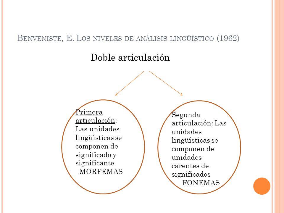 B ENVENISTE, E. L OS NIVELES DE ANÁLISIS LINGÜÍSTICO (1962) Doble articulación Primera articulación: Las unidades lingüísticas se componen de signific