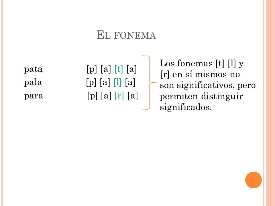 E L FONEMA pata [p] [a] [t] [a] pala [p] [a] [l] [a] para [p] [a] [r] [a] Los fonemas [t] [l] y [r] en sí mismos no son significativos, pero permiten