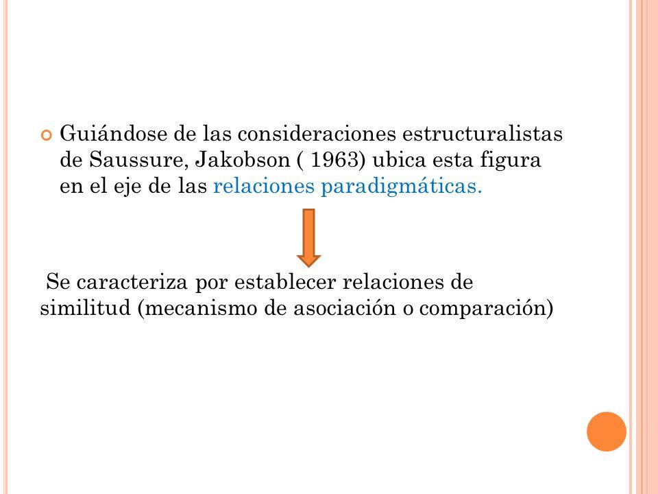 Guiándose de las consideraciones estructuralistas de Saussure, Jakobson ( 1963) ubica esta figura en el eje de las relaciones paradigmáticas. Se carac