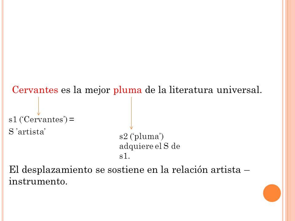 Cervantes es la mejor pluma de la literatura universal. s1 (Cervantes) = S artista El desplazamiento se sostiene en la relación artista – instrumento.