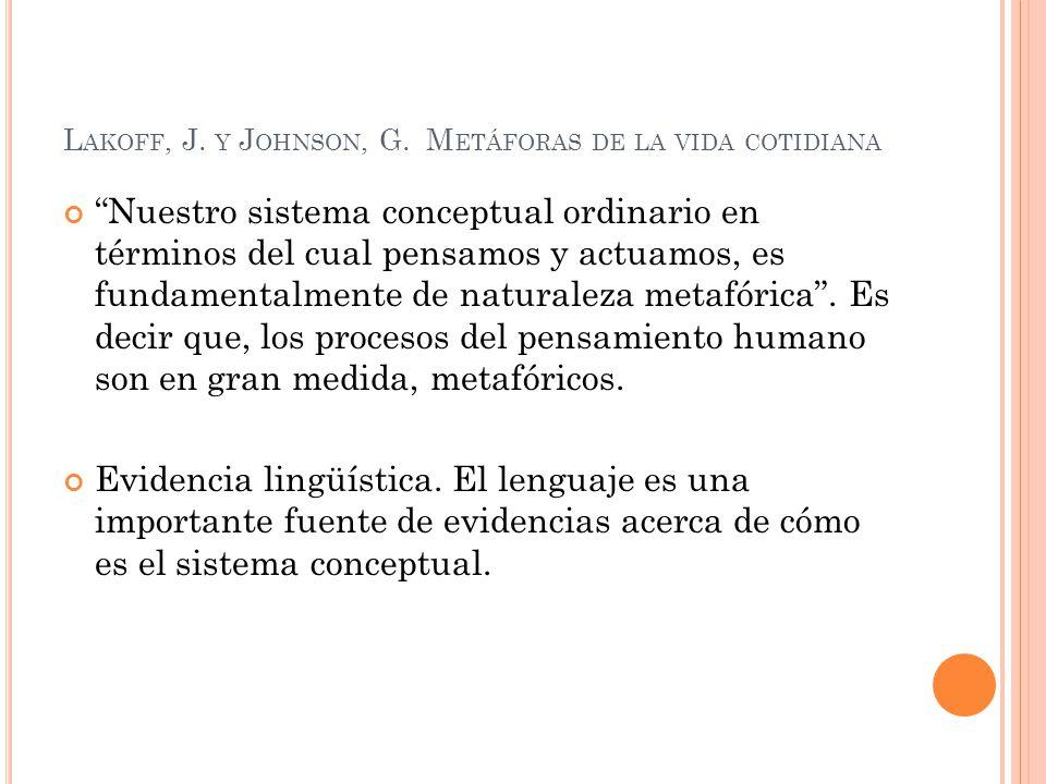 L AKOFF, J. Y J OHNSON, G. M ETÁFORAS DE LA VIDA COTIDIANA Nuestro sistema conceptual ordinario en términos del cual pensamos y actuamos, es fundament