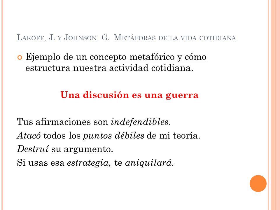 L AKOFF, J. Y J OHNSON, G. M ETÁFORAS DE LA VIDA COTIDIANA Ejemplo de un concepto metafórico y cómo estructura nuestra actividad cotidiana. Una discus