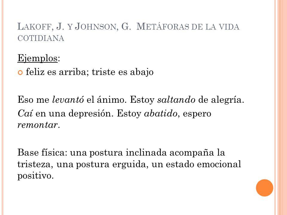 L AKOFF, J. Y J OHNSON, G. M ETÁFORAS DE LA VIDA COTIDIANA Ejemplos: feliz es arriba; triste es abajo Eso me levantó el ánimo. Estoy saltando de alegr