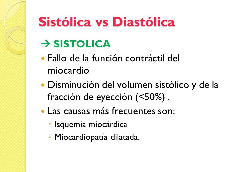 Sistólica vs Diastólica SISTOLICA Fallo de la función contráctil del miocardio Disminución del volumen sistólico y de la fracción de eyección (<50%).