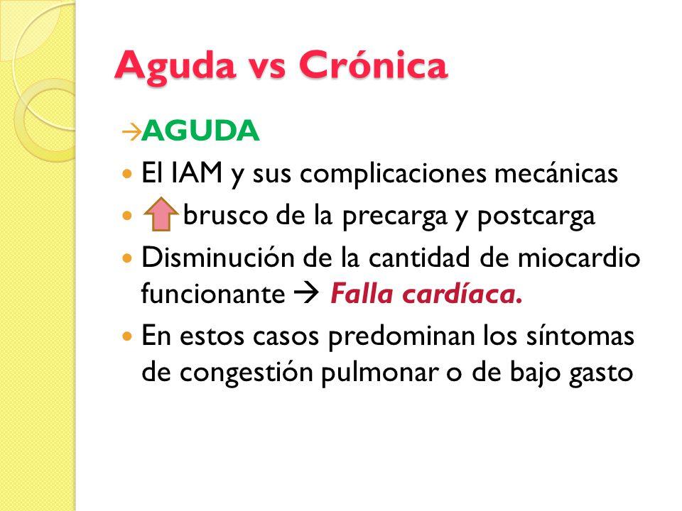 Aguda vs Crónica AGUDA El IAM y sus complicaciones mecánicas brusco de la precarga y postcarga Disminución de la cantidad de miocardio funcionante Fal