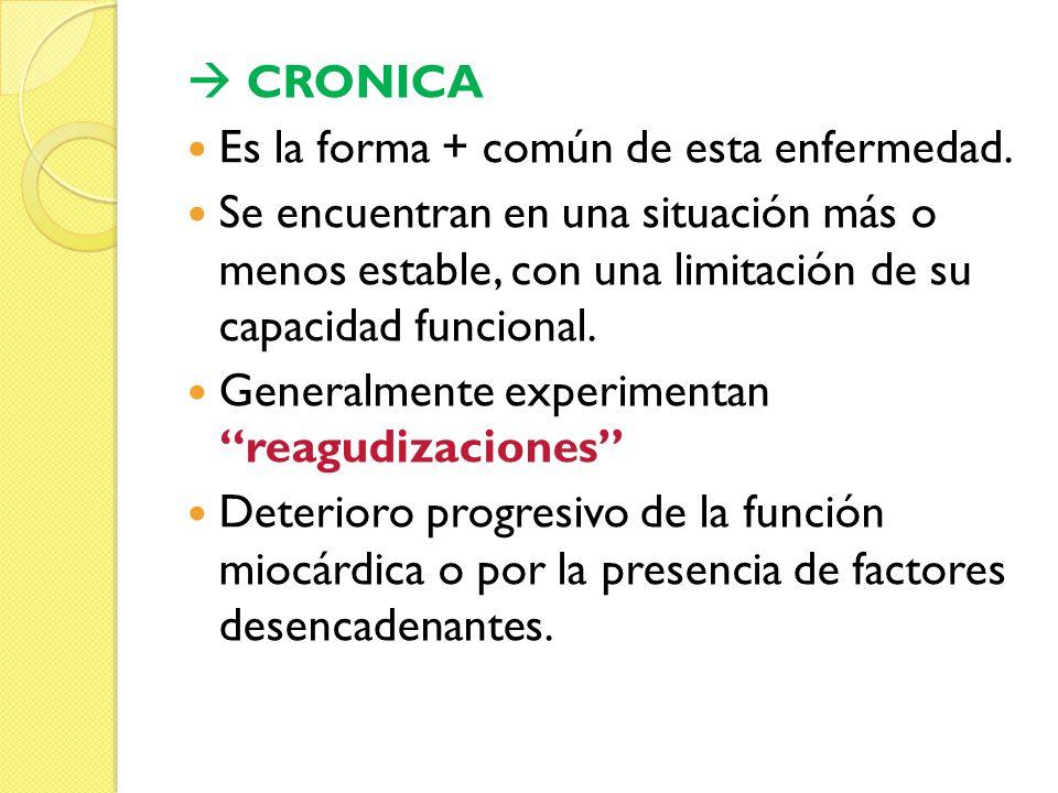CRONICA Es la forma + común de esta enfermedad. Se encuentran en una situación más o menos estable, con una limitación de su capacidad funcional. Gene