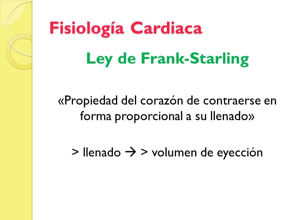 Fisiología Cardiaca Ley de Frank-Starling «Propiedad del corazón de contraerse en forma proporcional a su llenado» > llenado > volumen de eyección