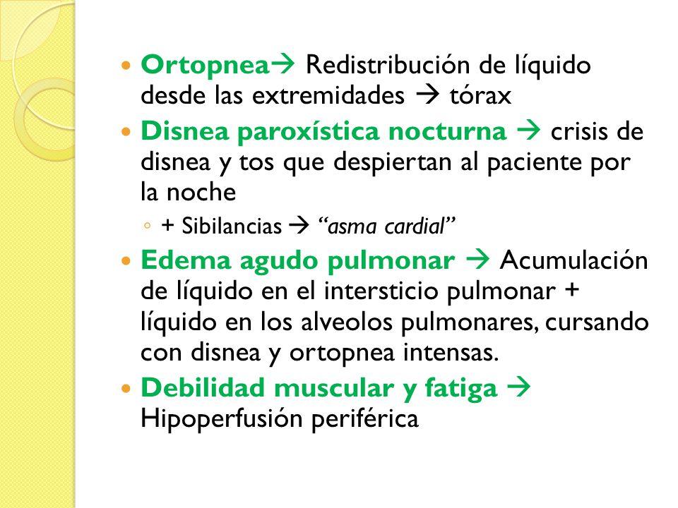 Ortopnea Redistribución de líquido desde las extremidades tórax Disnea paroxística nocturna crisis de disnea y tos que despiertan al paciente por la n