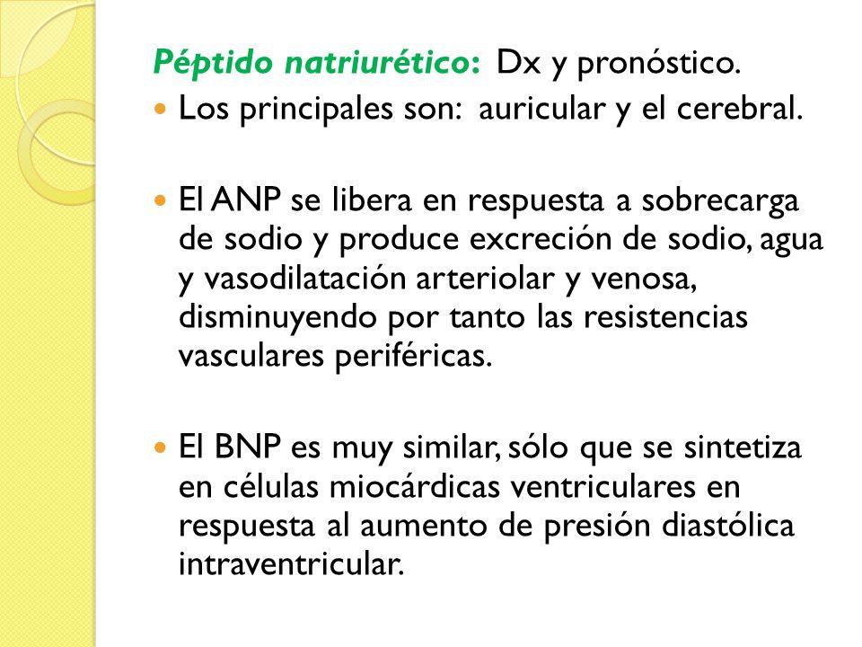 Péptido natriurético: Dx y pronóstico. Los principales son: auricular y el cerebral. El ANP se libera en respuesta a sobrecarga de sodio y produce exc