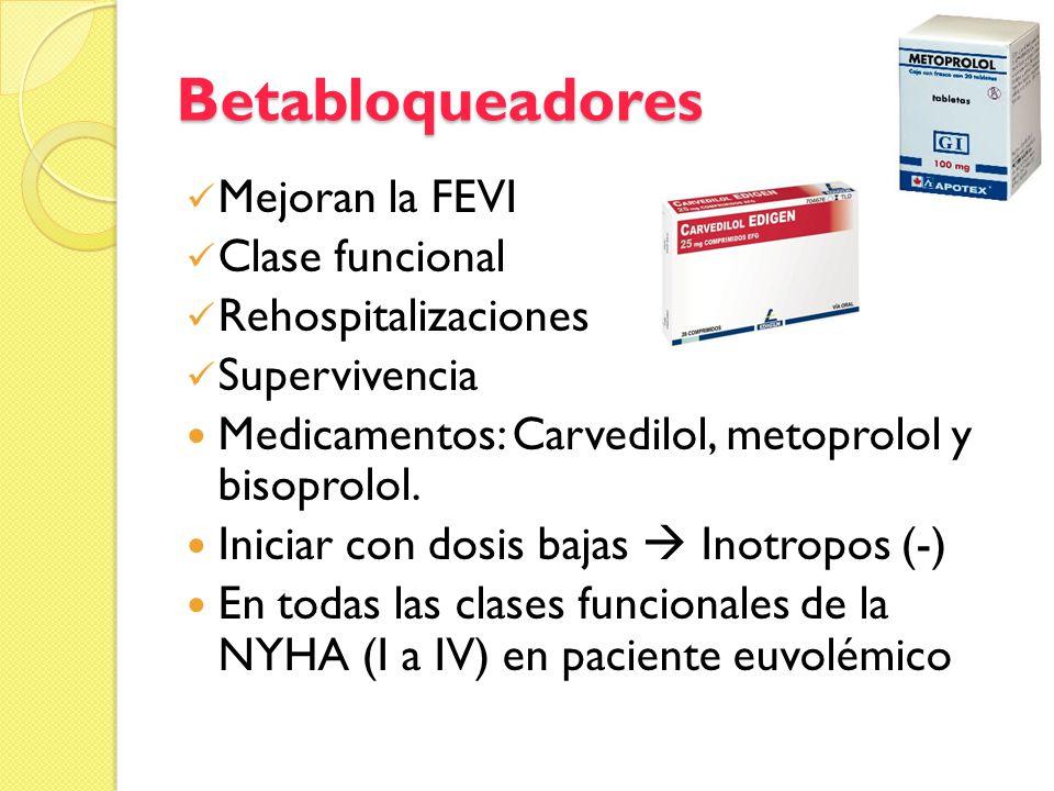 Betabloqueadores Mejoran la FEVI Clase funcional Rehospitalizaciones Supervivencia Medicamentos: Carvedilol, metoprolol y bisoprolol. Iniciar con dosi