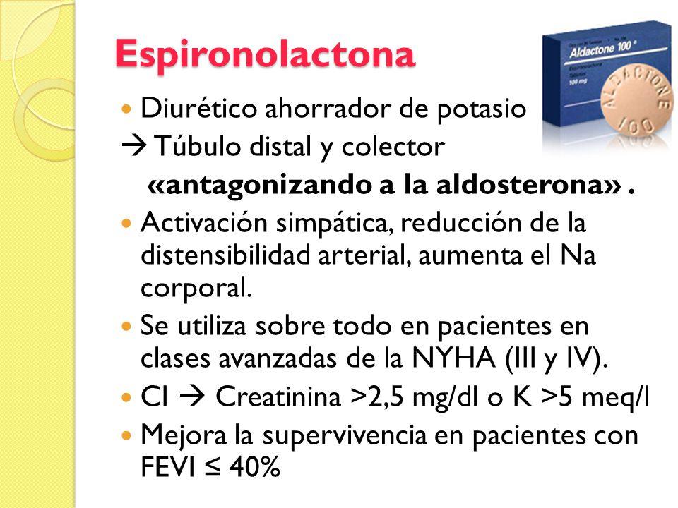 Espironolactona Diurético ahorrador de potasio Túbulo distal y colector «antagonizando a la aldosterona». Activación simpática, reducción de la disten