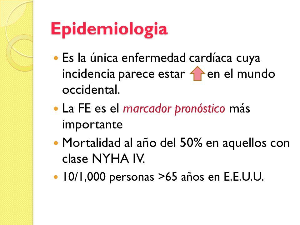 Epidemiologia Es la única enfermedad cardíaca cuya incidencia parece estar en el mundo occidental. La FE es el marcador pronóstico más importante Mort