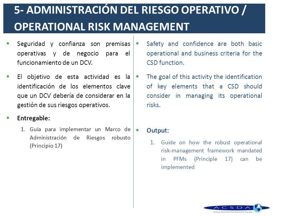 Seguridad y confianza son premisas operativas y de negocio para el funcionamiento de un DCV. El objetivo de esta actividad es la identificación de los