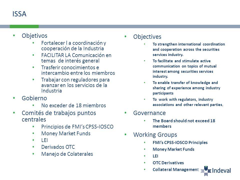 ISSA Objetivos Fortalecer l a coordinación y cooperación de la Industria FACILITAR LA Comunicación en temas de interés general Trasferir conocimientos