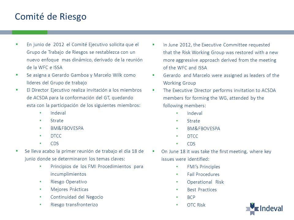 Comité de Riesgo En junio de 2012 el Comité Ejecutivo solicita que el Grupo de Trabajo de Riesgos se restablezca con un nuevo enfoque mas dinámico, de