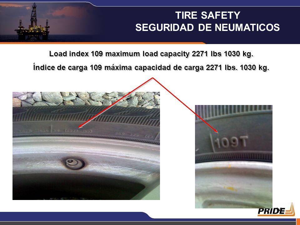 13 Máxima Capacidad de Carga por Neumático La tabla adjunta muestra el índice de carga y la máxima capacidad de carga por neumático en libras y kilogr