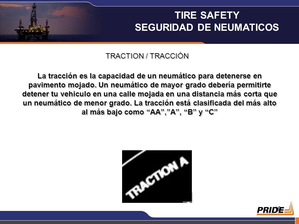18 RESISTENCIA A LA TEMPERATURA / TEMPERATURE RESISTANCE Las letras indicaran la resistencia de un neumático al calor. Estas se clasifican del más alt