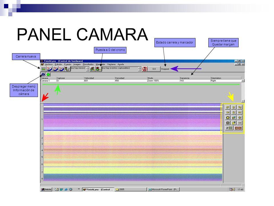 PANEL CAMARA Carrera nueva Puesta a 0 del crono Estado carrera y marcador Siempre tiene que Quedar margen Desplegar menú Información de cámara