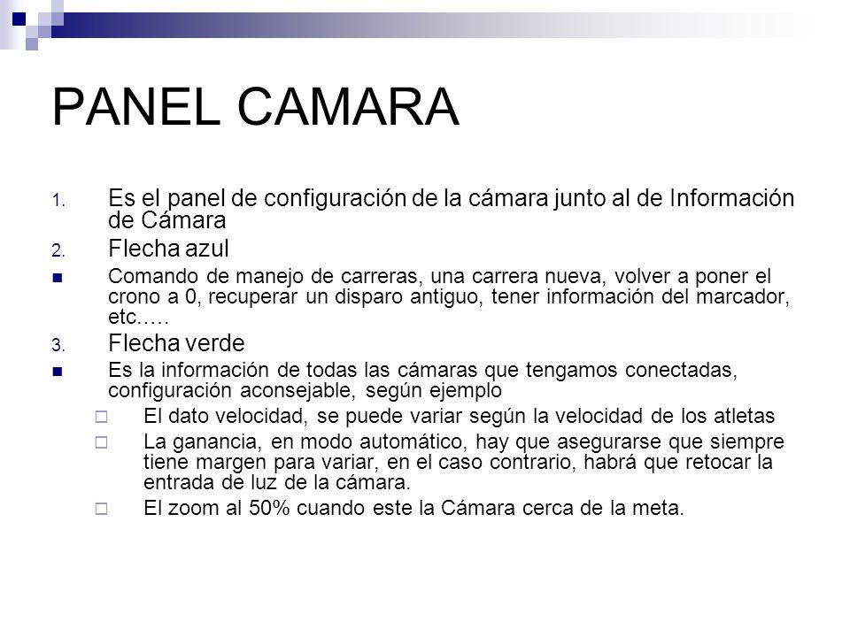 PANEL CAMARA 1. Es el panel de configuración de la cámara junto al de Información de Cámara 2. Flecha azul Comando de manejo de carreras, una carrera