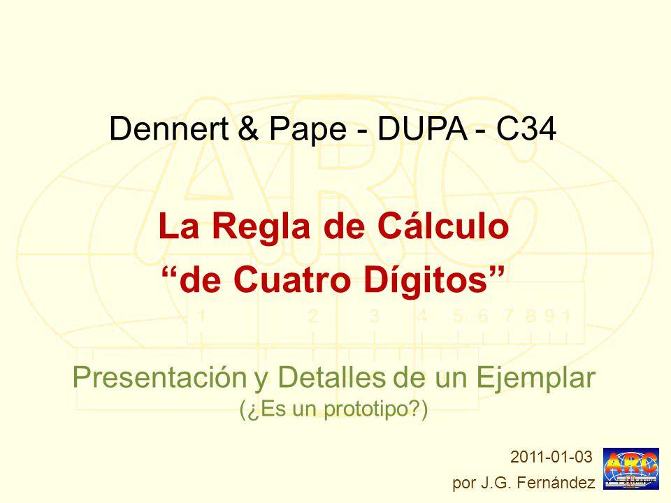 La Parte Posterior de la Regla: En el reverso de la regla hay una tabla de constantes y factores de conversión: (le falta el cursor para lectura de senos y tangentes) D&P DUPA C-34: La Regla de Cálculo de Cuatro Dígitos