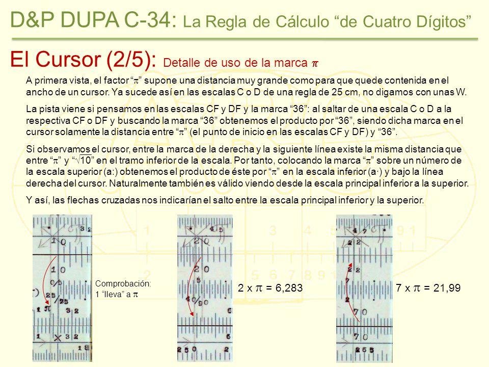 El Cursor (2/5): Detalle de uso de la marca Comprobación: 1 lleva a 2 x = 6,2837 x = 21,99 A primera vista, el factor supone una distancia muy grande como para que quede contenida en el ancho de un cursor.