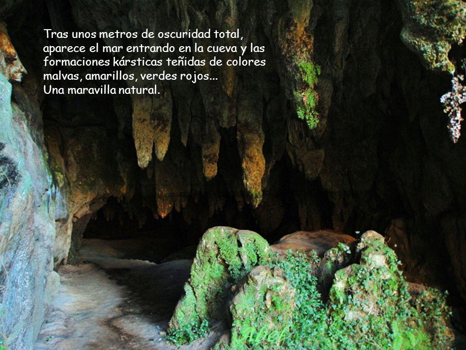 Se accede por una pequeña abertura cerca de la playa interior del mismo nombre. Únicamente se puede llegar al final de la cueva en marea baja.