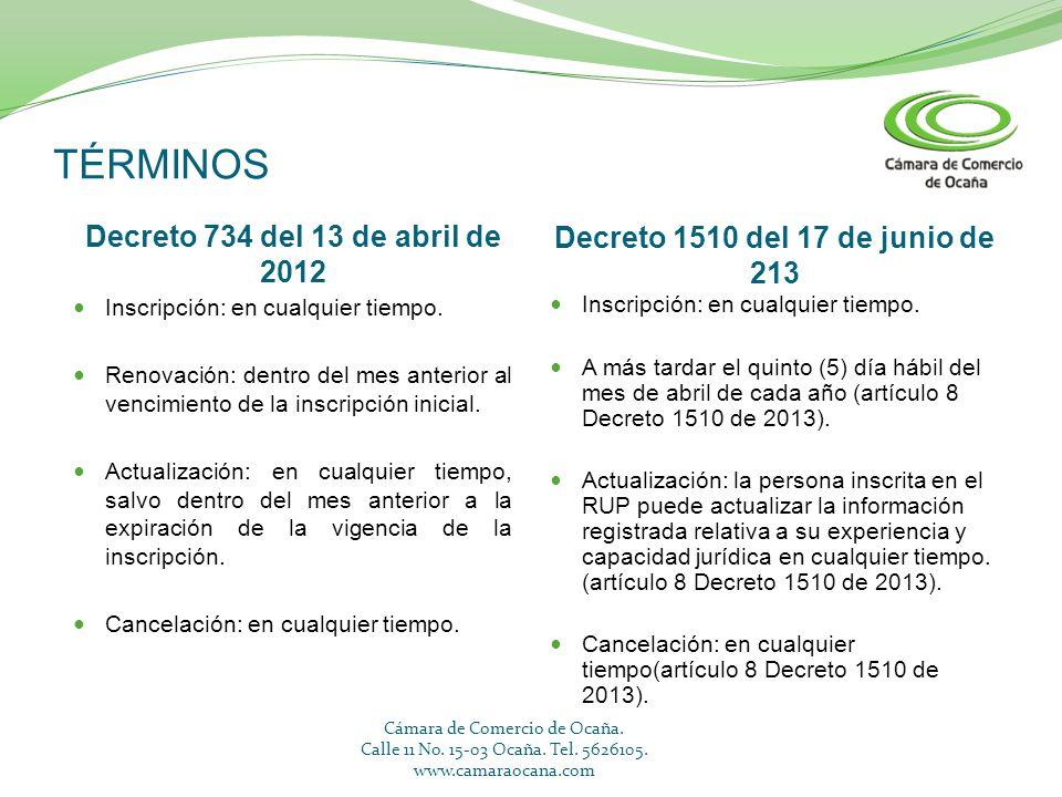 TÉRMINOS Decreto 734 del 13 de abril de 2012 Decreto 1510 del 17 de junio de 213 Inscripción: en cualquier tiempo. Renovación: dentro del mes anterior