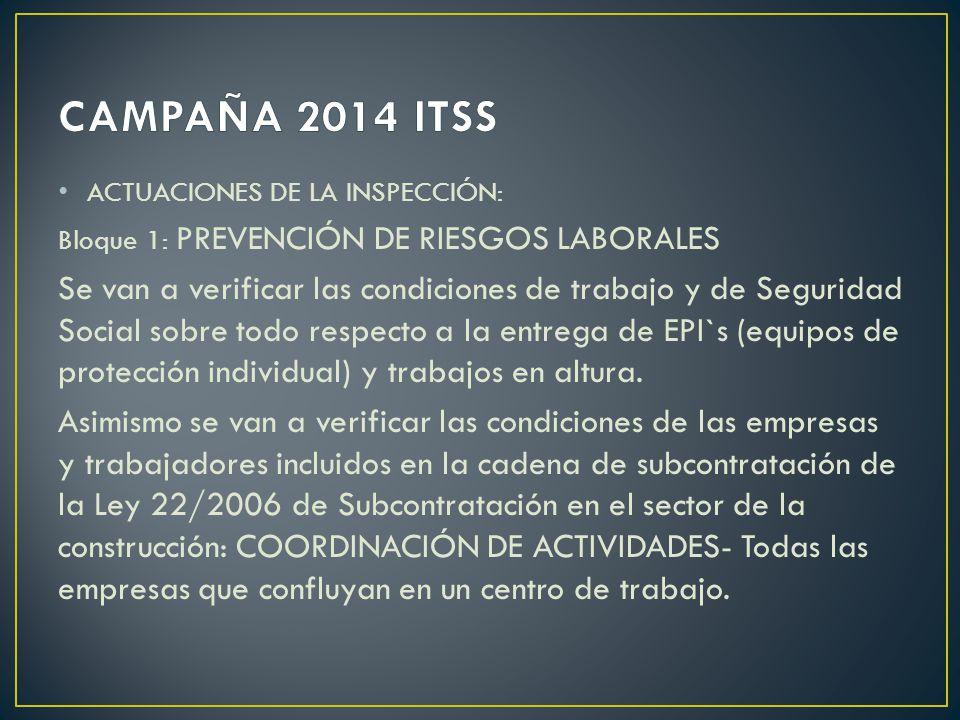 ACTUACIONES DE LA INSPECCIÓN: Bloque 1: PREVENCIÓN DE RIESGOS LABORALES Se van a verificar las condiciones de trabajo y de Seguridad Social sobre todo