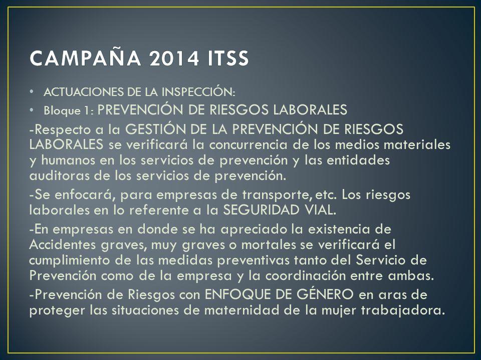 ACTUACIONES DE LA INSPECCIÓN: Bloque 1: PREVENCIÓN DE RIESGOS LABORALES -Respecto a la GESTIÓN DE LA PREVENCIÓN DE RIESGOS LABORALES se verificará la