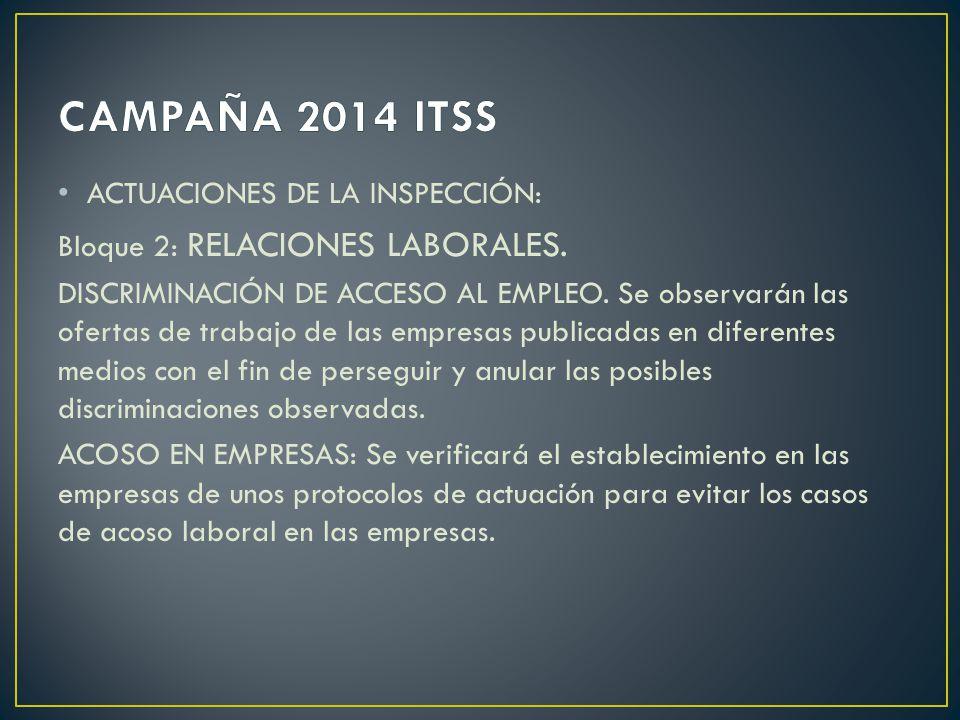 ACTUACIONES DE LA INSPECCIÓN: Bloque 2: RELACIONES LABORALES. DISCRIMINACIÓN DE ACCESO AL EMPLEO. Se observarán las ofertas de trabajo de las empresas