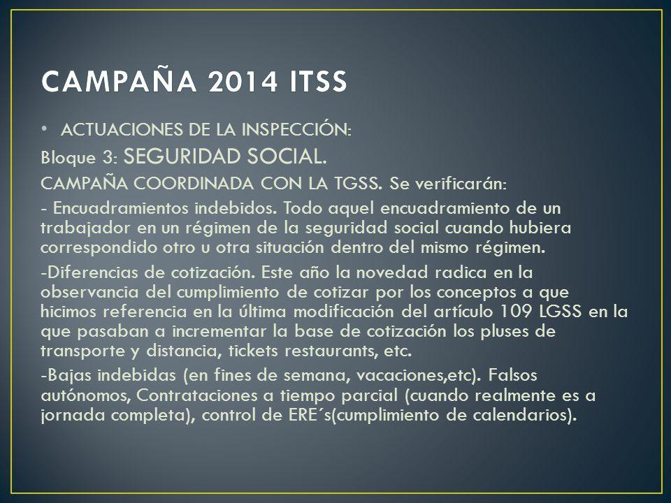 ACTUACIONES DE LA INSPECCIÓN: Bloque 3: SEGURIDAD SOCIAL.