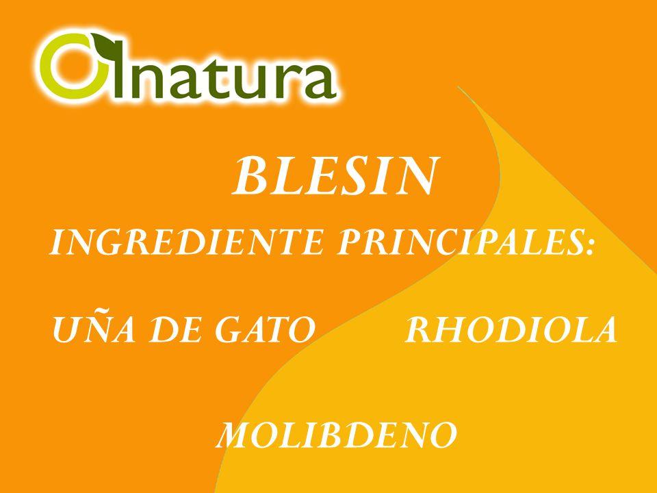 BLESIN INGREDIENTE PRINCIPALES: UÑA DE GATO RHODIOLA MOLIBDENO