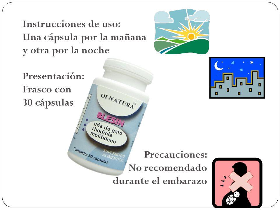 Instrucciones de uso: Una cápsula por la mañana y otra por la noche Presentación: Frasco con 30 cápsulas Precauciones: No recomendado durante el embar
