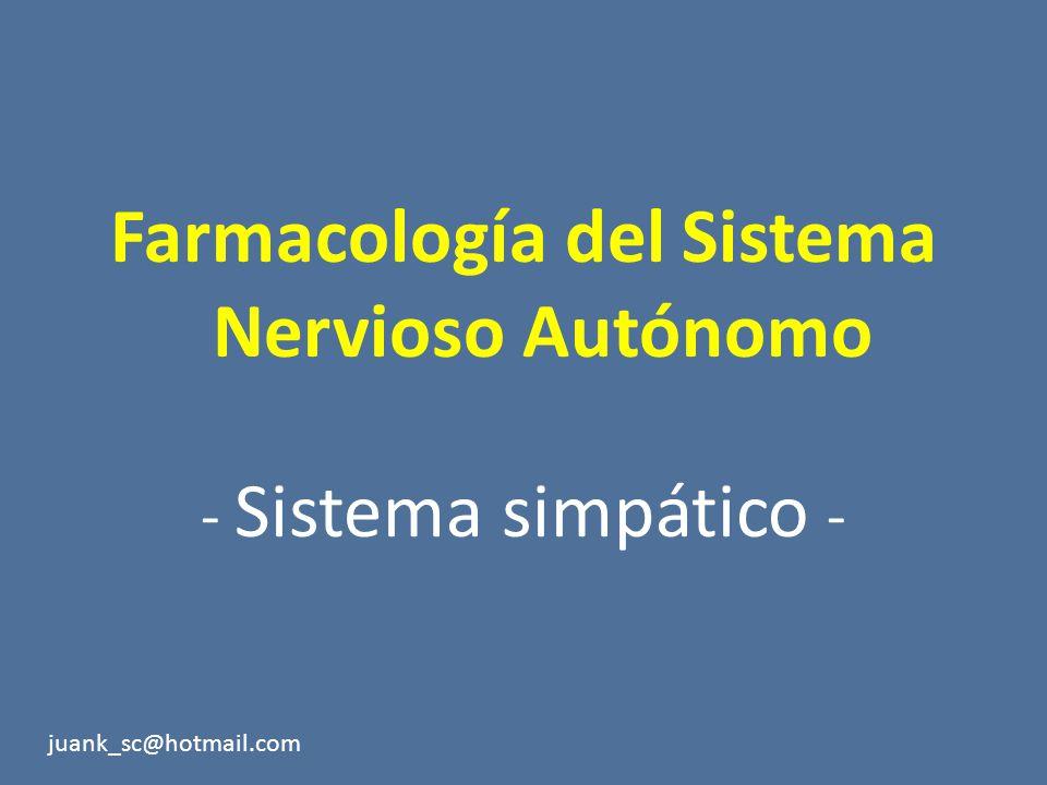 Farmacología del Sistema Nervioso Autónomo - Sistema simpático - juank_sc@hotmail.com