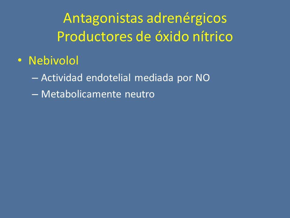 Nebivolol – Actividad endotelial mediada por NO – Metabolicamente neutro Antagonistas adrenérgicos Productores de óxido nítrico