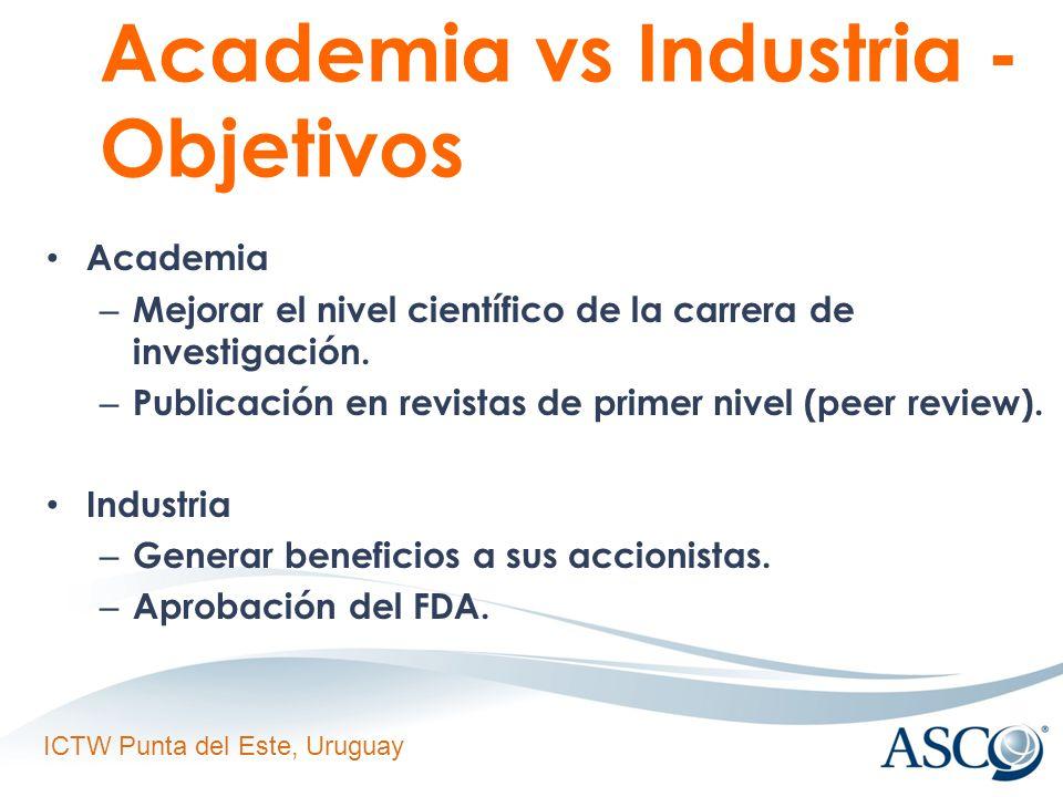 ICTW Punta del Este, Uruguay Academia vs Industria - Objetivos Academia – Mejorar el nivel científico de la carrera de investigación.