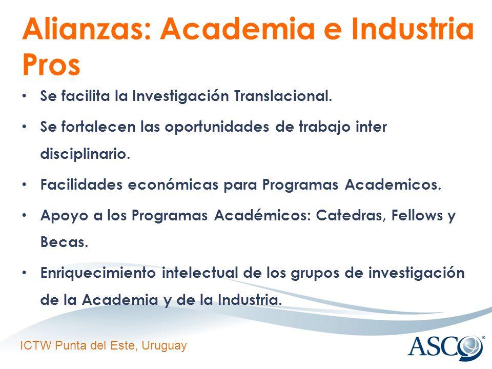 ICTW Punta del Este, Uruguay Alianzas: Academia e Industria Pros Se facilita la Investigación Translacional.