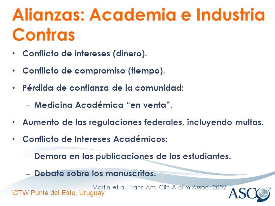 ICTW Punta del Este, Uruguay Alianzas: Academia e Industria Contras Conflicto de intereses (dinero).