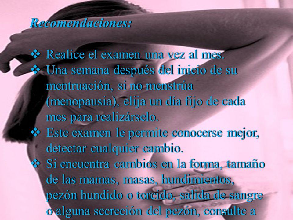 Es muy importante que las personas se hagan el examen y mamografías, si están dentro de las siguientes categorías: Mujeres mayores de 50 años.