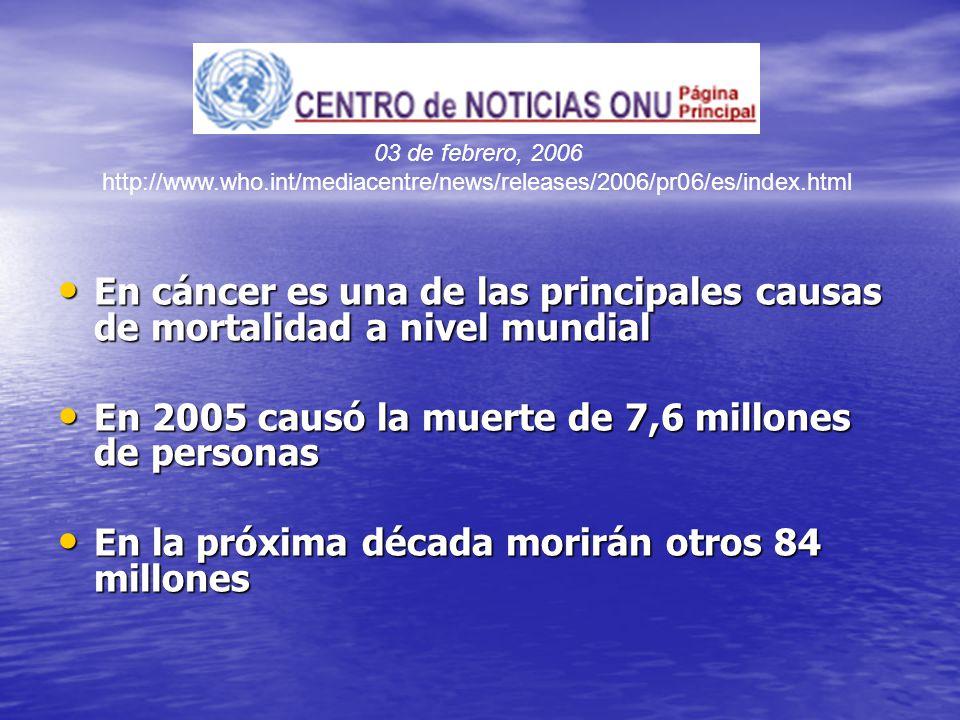 En cáncer es una de las principales causas de mortalidad a nivel mundial En cáncer es una de las principales causas de mortalidad a nivel mundial En 2005 causó la muerte de 7,6 millones de personas En 2005 causó la muerte de 7,6 millones de personas En la próxima década morirán otros 84 millones En la próxima década morirán otros 84 millones 03 de febrero, 2006 http://www.who.int/mediacentre/news/releases/2006/pr06/es/index.html
